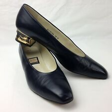 Nina Classic Leather Pumps Navy Blue Block Heel Gold Whale Sz 10 N