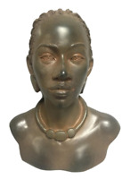 Ethnic African American Female Bust Torso Statue Beautiful Design Rust Colored