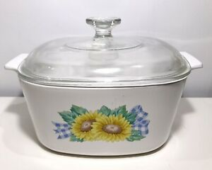 Corning Ware Casserole Dish Sunflower & gingham ribbon 3 Litre A-3-B USA Vintage