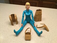 Vintage Louis Marx Jane West Action Figure Blue W/ Accessories Shown. Intact!