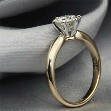 Wedding Engagement Ring 14k Yellow Gold 1.50 Ct Brilliant Cut Moissanite 2 Tone