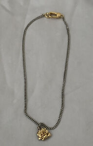 Marc Jacobs Silver Chain Gold Plated Flower Pendant Necklace Very Rare