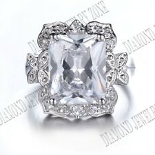 Sterling Silver Cushion/Radiant 9x12mm White Topaz Ring Fine Jewelry Setting
