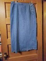 CJ Banks Christopher Blue Skirt Size 12 Denim Jean Modest Womens Long