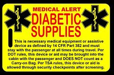 Safety Yellow Carry-On Diabetic Supplies  Bag Tag - TSA - CPAP BiPAP APNEA POC