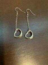 Vintage Sterling Silver Tiffany & Co Elsa Peretti Open Heart Dangle Earrings 925