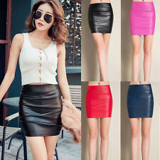 Winter Sexy Punk Gothic High Wais Stretch Soft Faux Leather PU Pencil Mini Skirt