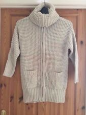 BNWOT RED DUCK Ladies Beige Chunky Knit Polo Neck Zipped Cardigan Size XL