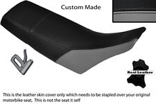 BLACK & GREY CUSTOM FITS YAMAHA TW 125 200 LEATHER DUAL SEAT COVER