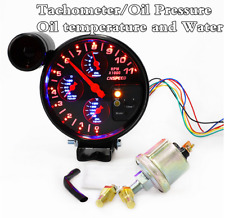 "4 In1 Car Racing Tachometer Black 5"" Gauge Rpm Oil Water Temperature Pressure"