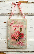 Shabby Rose Plaque Chic Sign Flower Floral Pink Romantic Home Decor Wall Hanging