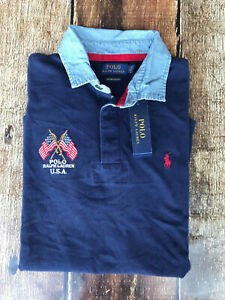 Polo Ralph Lauren Custom Slim Fit USA Flag Rugby Polo Shirt Navy Mens Medium New