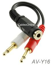 "6"" 3.5mm Stereo female to Dual 3.5mm Mono Male Left/Right Adapter Cable, AV-Y16"