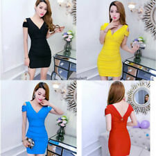 Sexy Chic  Women V Neck Off Shoulder Stretch Slim Party Club Wrap Dress Yellow L