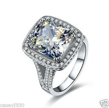 8 CT CUSHION CUT HALO STYLE SYNTHETIC SONA DIAMOND ENGAGEMENT RING SILVER GOLD