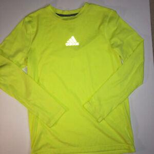 Adidas Boys Neon Yellow Long Sleeve Athletic Shirt Crew Neck Large 14/16