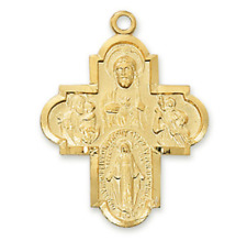 18k Gold Over Sterling 4-way Catholic Laura Ingraham Replica Cross Medal - Chain