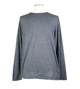 Cloudveil XL Pure Merino Wool Gray Base Layer Light Sweater Mens MADE CANADA