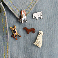 5 Piece/Set Cute Dog Enamel Brooches Denim Jacket Pin Badges Creative Jewelry