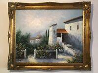 Vintage Gilt framed original Signed oil painting On Canvas Mediterranean Scene