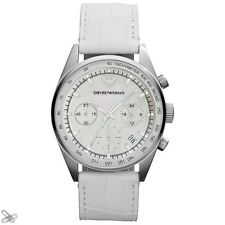 Emporio Armani Damenuhr Echt Leder Weiß AR6011 Chronograph