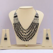 Beaded Necklace & Earrings 83 Grams Silver Plated Natural Black Onyx Gemstone