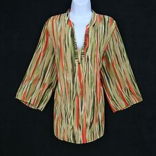 JM Collection Top Blouse Womens 16W Multicolor Stripe Beaded V-Neck Short Sleeve