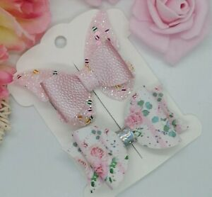 Pink Set of 2 hair clips  GIRLS BABY HAIR BOW Flower / Butterfly Hair Clips