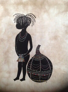 1X New painting African on cloth home decor wall canvas art Turcana child print