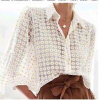 ZARA / Women's Semi-Sheer Daisy Floral Organza Blouse Top Size S EUC