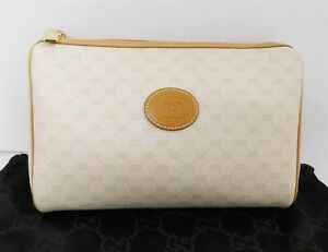 Gucci Vintage Beige GG Logo Monogram Canvas Tan Leather Mini Clutch Bag