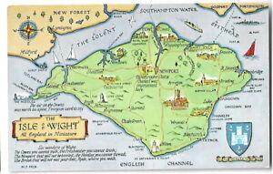 Artist Drawn Postcard J Salmon M F Peck 4590 Map The Isle of Wight