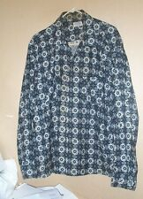 Very kool and rare1950's snowflake print soft cotton shirt by Nofade-XL!
