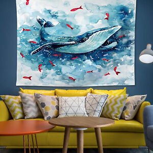 Blue Whale Fish Ocean Painting Wall Hanging Throw Blankets Gifts Decor Tapestry