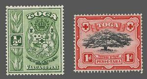 Tonga Sc. #73-74   MNH Coat of Arms  Ovava Tree Types of 1897-1920  Wmk.4  1942