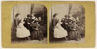 Scena Artistica Bambini Arredamento Foto Stereo PL53L3n34 Vintage Albumina c1865