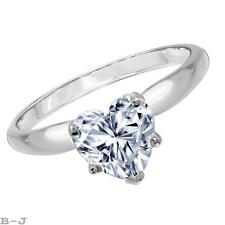 Engagement Ring Solitaire 14K White Solid Gold 1.50 Ct Heart Shape Diamond Cut