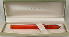 Levenger True Writer Fireball Orange Transparent Fountain Pen - Medium Nib -New