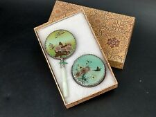 More details for vintage chinese hand mirror and powder box decorated with flowers & butterflies