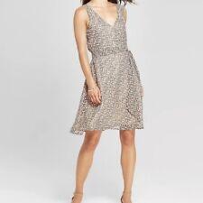 269d2bd236 A New Day Dress Animal Leopard Print Size Small Faux Wrap Sleeveless  Chiffon S