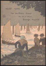 George Auriol. Carte de Joyeux Noel 1934. Christmas card. Japonisme. Montmartre
