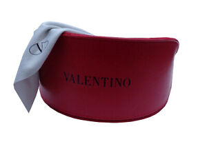 NEW VALENTINO sunglasses eye glasses spectacle case AUTHENTIC soft RED womens XL