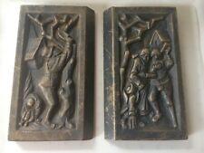 """Pair Antique 19th C Cast Iron Architectural Plaques Fireplace Garden 9 x5 """" each"""
