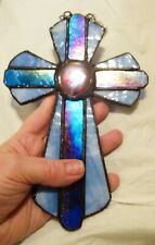 Stained Glass Cross Suncatcher or Wall Mount Window Decoration Spiritual