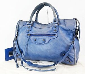 Authentic BALENCIAGA City Blue Leather Hand Shoulder Bag Purse #38607