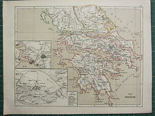 1875 ANTIQUE HISTORICAL MAP ~  GREECE LACONICA ARCADIA ATHENS CITY PLAN ENVIRONS