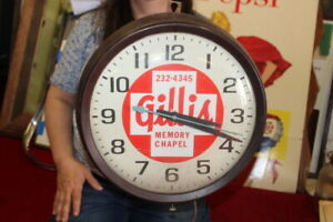 """Vintage 1950's Gillis Memory Chapel Funeral Home Cemetery 14"""" Clock Sign WORKS"""