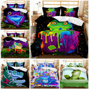 Animals Bedding Set Colorful Frog Duvet Cover and Pillowcase Single Double King