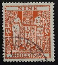 c. 1931- New Zealand 9/- brown orange Arms Stamp Duty stamp Used