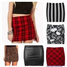 WOMENS TARTAN SKULL LEOPARD PRINT STRETCH SHORT MINI PENCIL SKIRT PLUS 8 -24/26